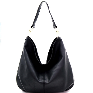 FC19590 Simple Single Strap Slouch Hobo Black