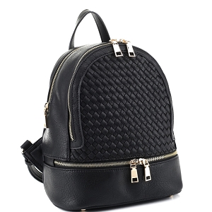 FC19770 Classy Woven Detail Double Zipper Faux-leather Backpack Black