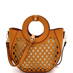 FC20105 Cut-Out Mixed-Material 2 in 1 Round Handle Medium Satchel Tan