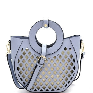 FC20105 Cut-Out Mixed-Material 2 in 1 Round Handle Medium Satchel Blue