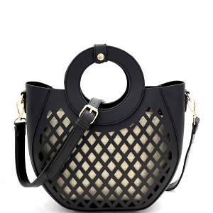 FC20105 Cut-Out Mixed-Material 2 in 1 Round Handle Medium Satchel Black