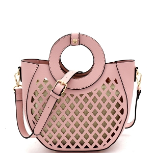 FC20105 Cut-Out Mixed-Material 2 in 1 Round Handle Medium Satchel Blush