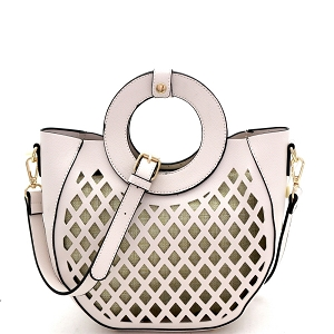 FC20105 Cut-Out Mixed-Material 2 in 1 Round Handle Medium Satchel Off-White