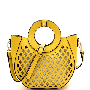 FC20105 Cut-Out Mixed-Material 2 in 1 Round Handle Medium Satchel Yellow