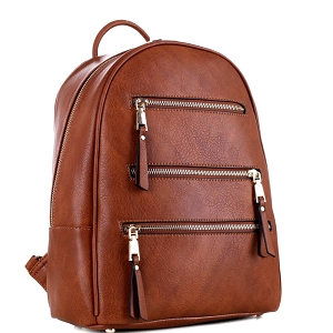 GS19605 Multi-Pocket Fashion Backpack Brown