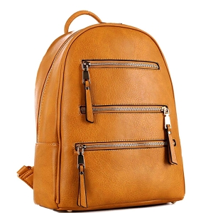 GS19605 Multi-Pocket Fashion Backpack Mustard