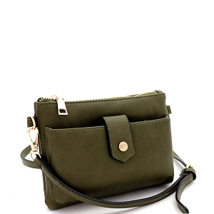 GS19696 Versatile Cellphone Compartment Cross Body Olive
