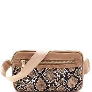 LM19558 Snake Print Multi Pocket Roomy Square Fanny Pack Taupe