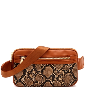 LM19558 Snake Print Multi Pocket Roomy Square Fanny Pack Brown