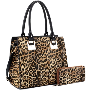 LM19627 Hardware Accent Leopard Print Tall Satchel Wallet SET Black