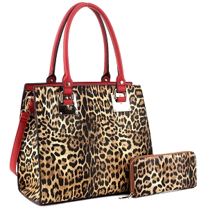 LM19627 Hardware Accent Leopard Print Tall Satchel Wallet SET