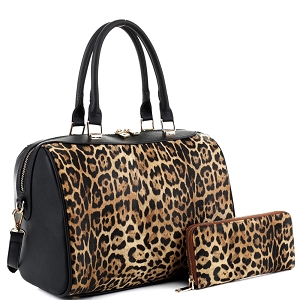 LM19785 Leopard Print Classy 2 Way Boston Barrel Satchel Wallet Set Leo/Black