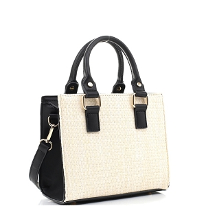 MT19709 Woven Straw 2-Way Medium Satchel Natural/Black