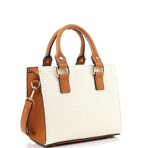 MT19709 Woven Straw 2-Way Medium Satchel Natural/Brown