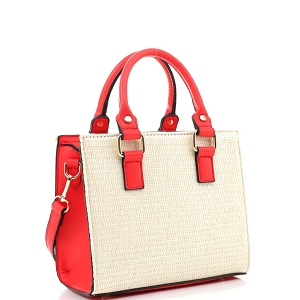 MT19709 Woven Straw 2-Way Medium Satchel Natural/Coral