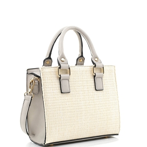 MT19709 Woven Straw 2-Way Medium Satchel Natural/Gray