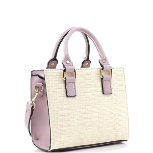 MT19709 Woven Straw 2-Way Medium Satchel Natural/Lavender