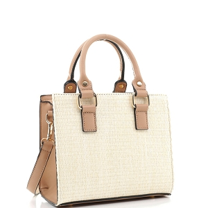 MT19709 Woven Straw 2-Way Medium Satchel Natural/Taupe