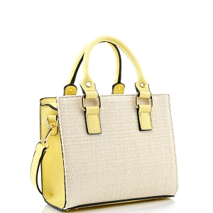 MT19709 Woven Straw 2-Way Medium Satchel Natural/Yellow
