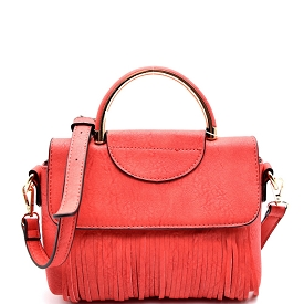 S87145 Fringed Metal Handle Small Satchel Coral
