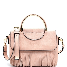 S87145 Fringed Metal Handle Small Satchel Pink