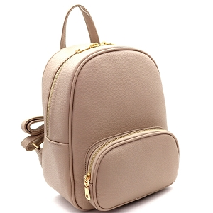SM19519 Simple Classy Medium Fashion Backpack Taupe