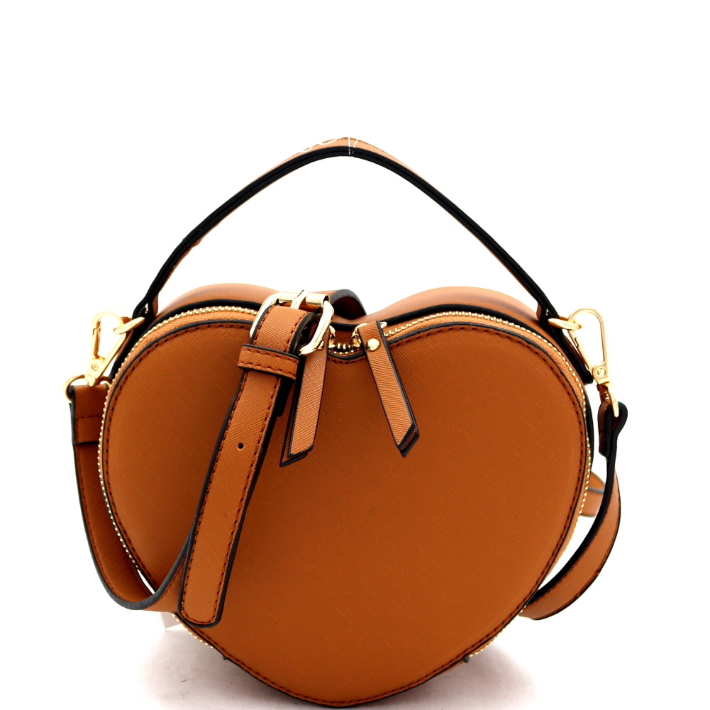 SM19671 Heart-Shaped Novelty Boxy Medium Satchel Shoulder Bag Tan