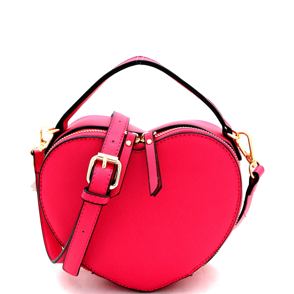 SM19671 Heart-Shaped Novelty Boxy Medium Satchel Shoulder Bag Fuchsia