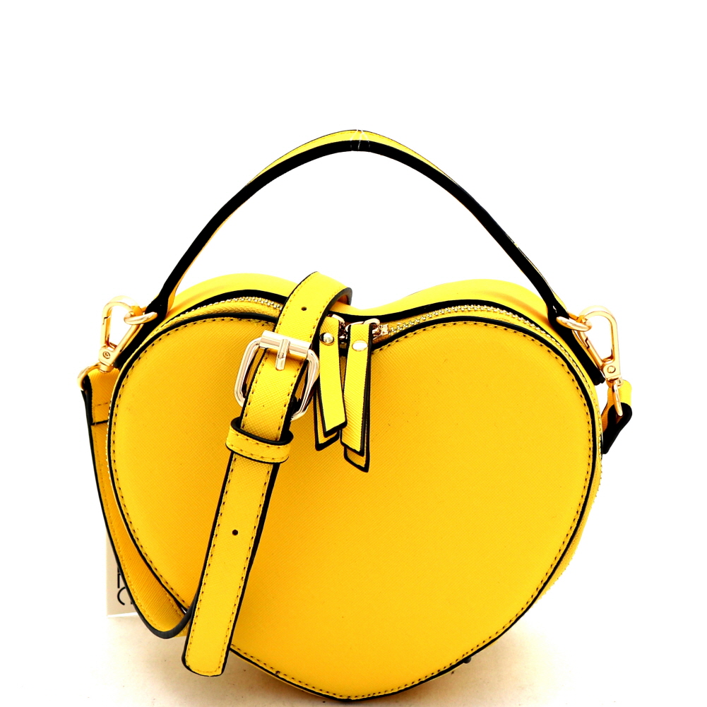 SM19671 Heart-Shaped Novelty Boxy Medium Satchel Shoulder Bag Yellow