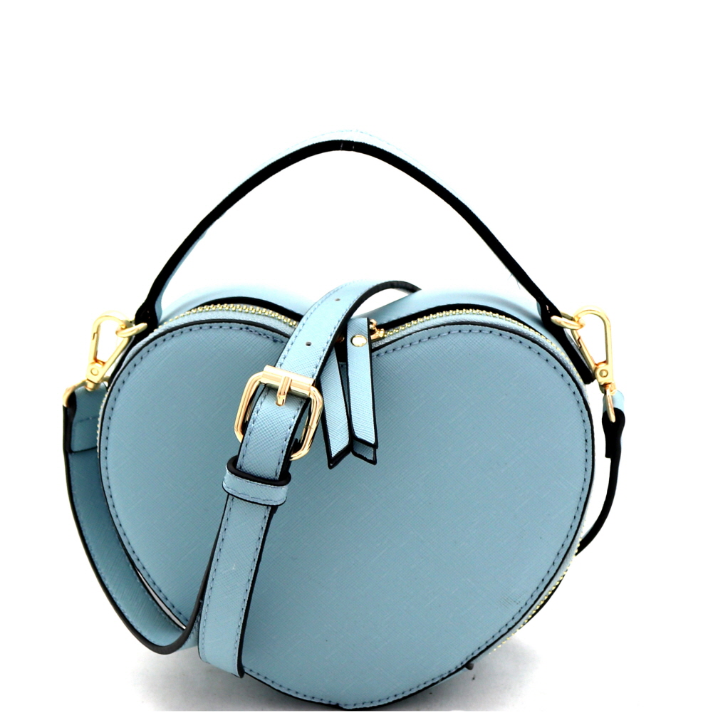 SM19671 Heart-Shaped Novelty Boxy Medium Satchel Shoulder Bag Blue