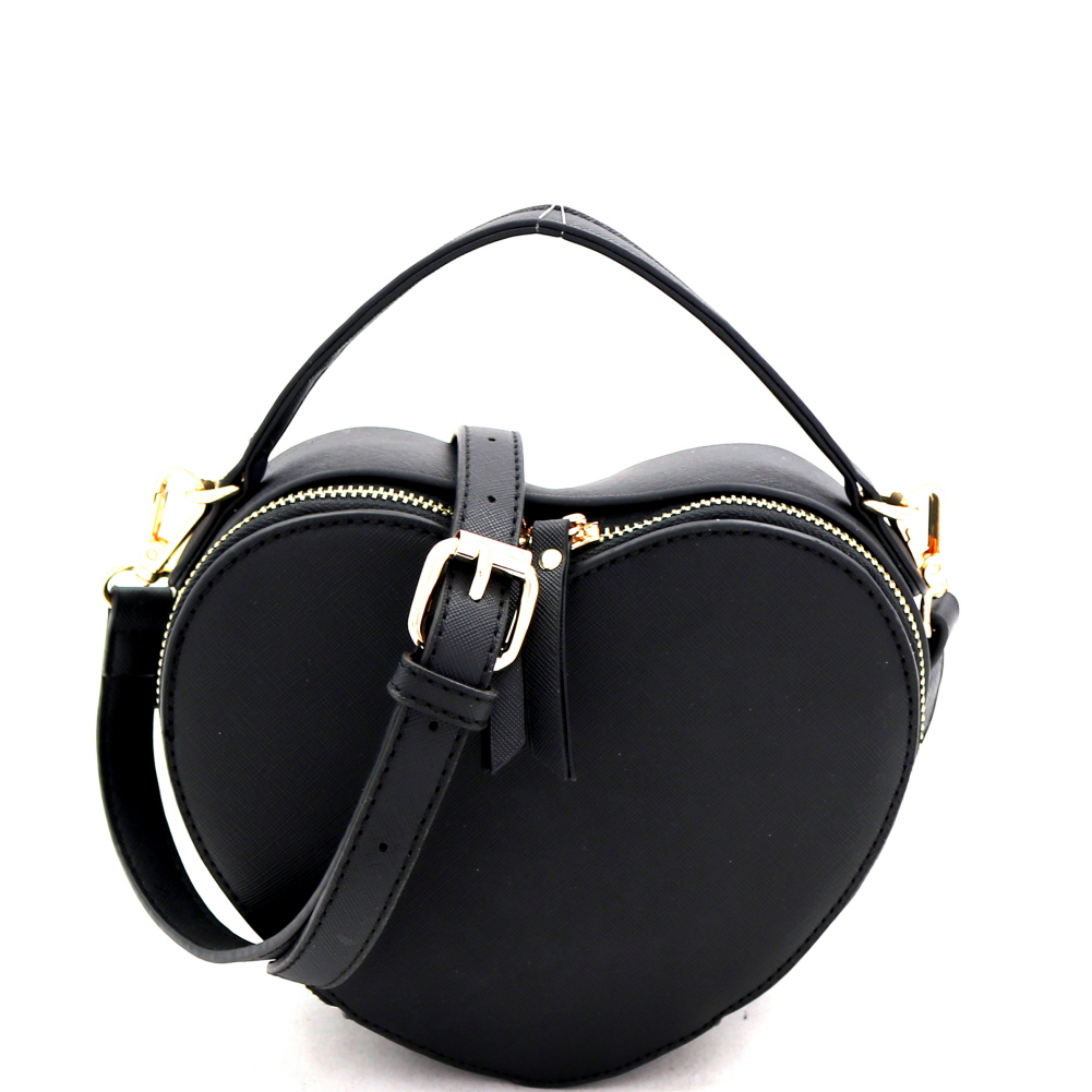 SM19671 Heart-Shaped Novelty Boxy Medium Satchel Shoulder Bag Black