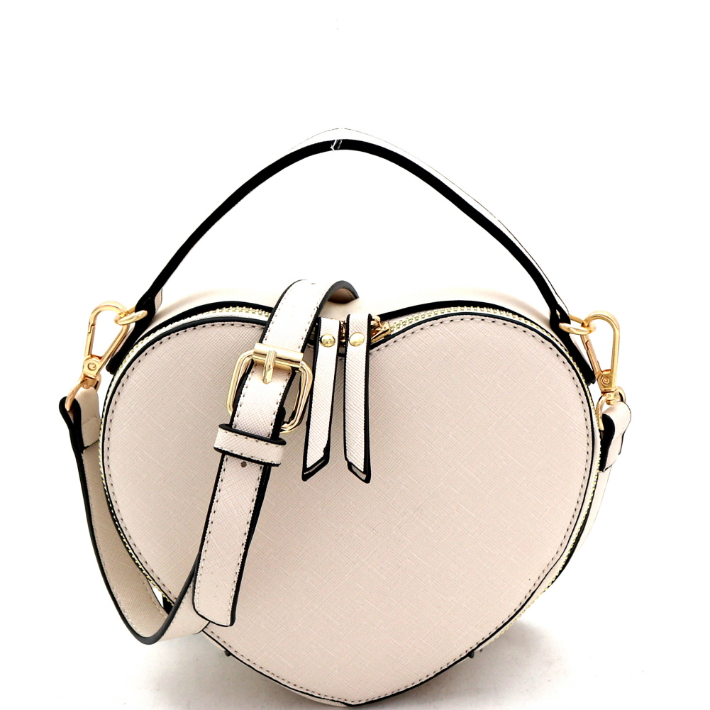 SM19671 Heart-Shaped Novelty Boxy Medium Satchel Shoulder Bag Sand