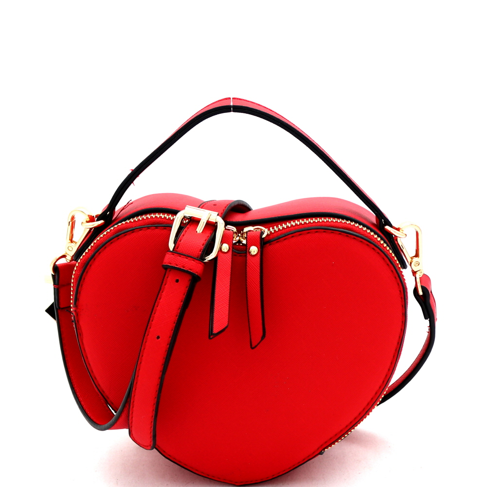 SM19671 Heart-Shaped Novelty Boxy Medium Satchel Shoulder Bag Red