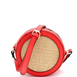 SM19685 Woven Straw Round Circle Cross Body Shoulder Bag Coral