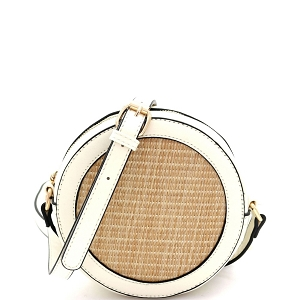 SM19685 Woven Straw Round Circle Cross Body Shoulder Bag Off-White