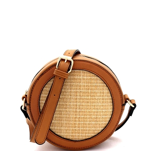 SM19685 Woven Straw Round Circle Cross Body Shoulder Bag Brown