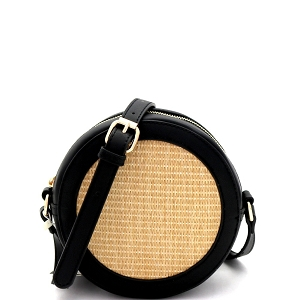 SM19685 Woven Straw Round Circle Cross Body Shoulder Bag Black