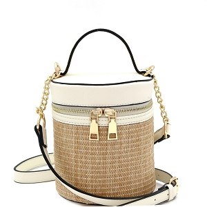 SM19700 Woven Straw Barrel-Shaped Medium 2-Way Shoulder Bag Off-White