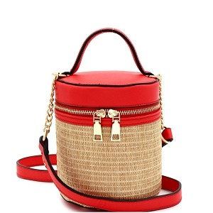 SM19700 Woven Straw Barrel-Shaped Medium 2-Way Shoulder Bag Coral