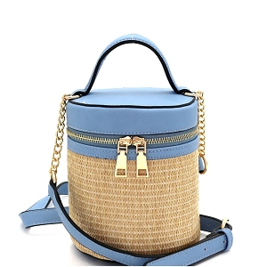 SM19700 Woven Straw Barrel-Shaped Medium 2-Way Shoulder Bag Light-Blue