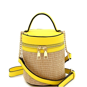 SM19700 Woven Straw Barrel-Shaped Medium 2-Way Shoulder Bag Yellow