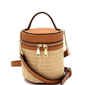 SM19700 Woven Straw Barrel-Shaped Medium 2-Way Shoulder Bag Brown