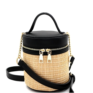 SM19700 Woven Straw Barrel-Shaped Medium 2-Way Shoulder Bag Black