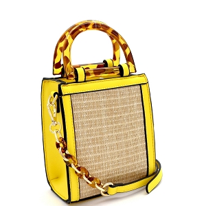 SM19746 Resin Handle Accent Straw 2-Way Small Satchel Natural/Yellow