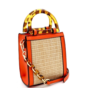 SM19746 Resin Handle Accent Straw 2-Way Small Satchel Natural/Orange