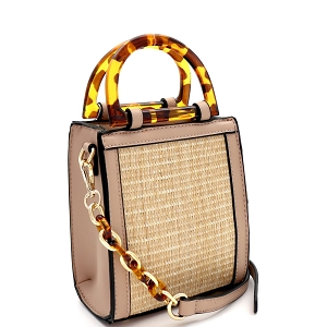 SM19746 Resin Handle Accent Straw 2-Way Small Satchel Natural/Taupe