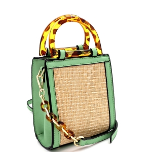 SM19746 Resin Handle Accent Straw 2-Way Small Satchel Natural/Mint