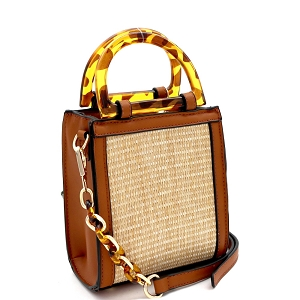 SM19746 Resin Handle Accent Straw 2-Way Small Satchel Natural/Brown