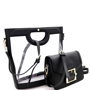 TF19523 Handle Accent Transparent Clear 2 in 1 Satchel Value SET Black