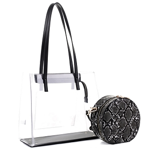 TS20026 Transparent Clear 2 in 1 Tote with Snake Print Cross Body Black